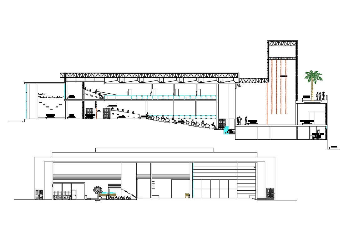 Cultural center facade and back section cad drawing details dwg file