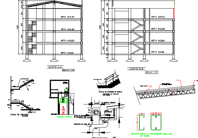 Cut sectional view with staircase construction details of office building dwg file