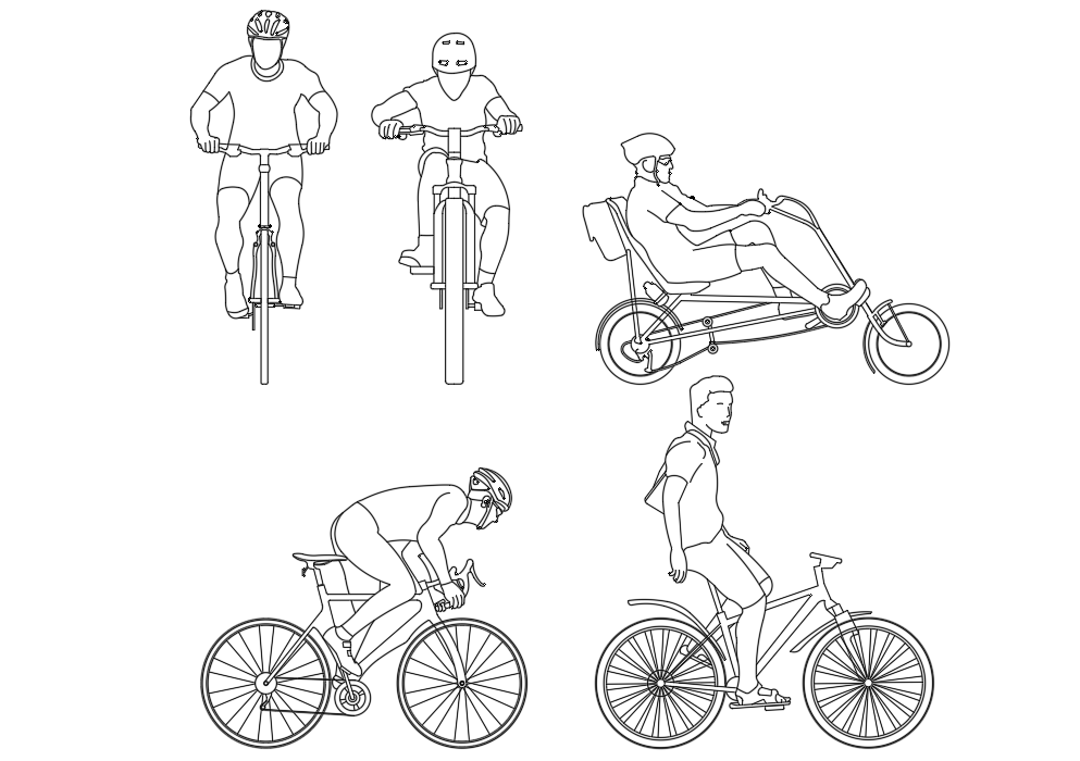 Cycles with sizes plan detail dwg