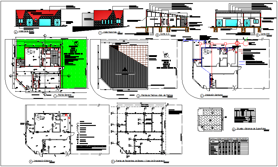 Dental hospital plan and sectional view with electrical,sanitary and column view dwg file