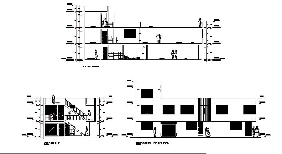 Design  of 2 storey building in autocad