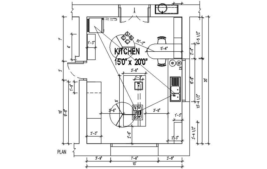 Kitchen Plan Design In AutoCAD File