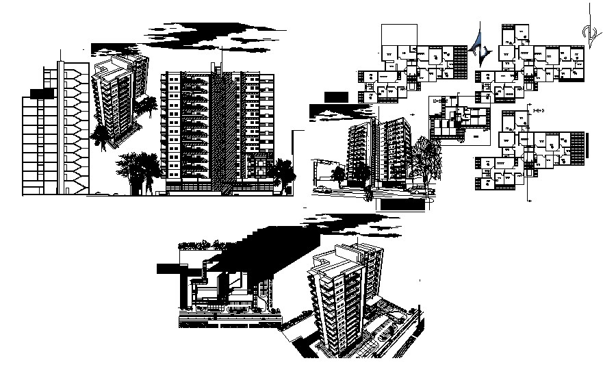 Design of the apartment with 3D elevations in autocad