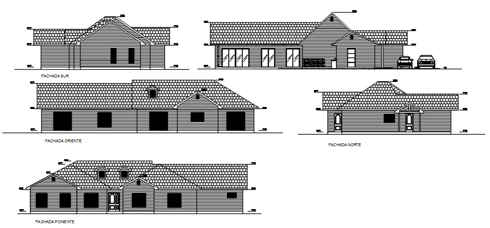 House Elevation Drawings In DWG File