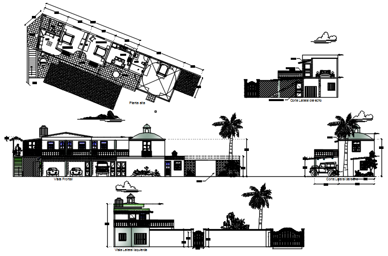 Design of the villa with detail dimension in dwg file