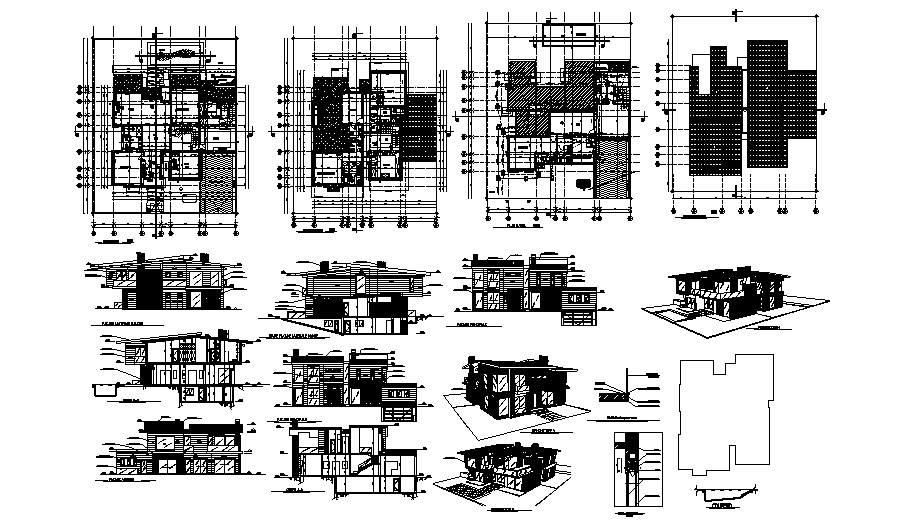 Design of the villa with elevations in autocad