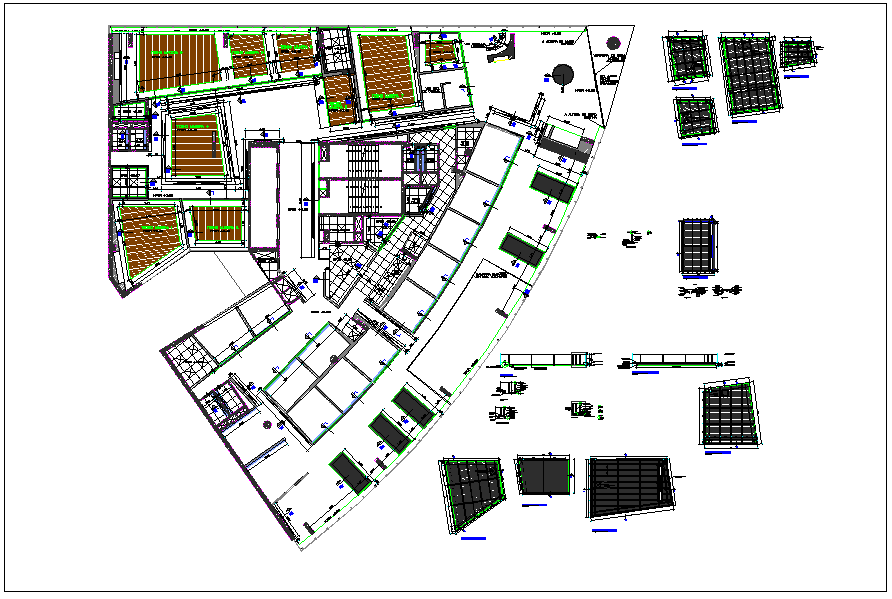 Design plan layout of corporate building detail dwg file