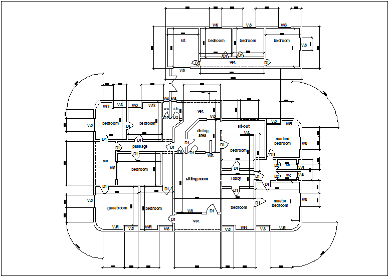 Design view of plan of  house building with dimension dwg file