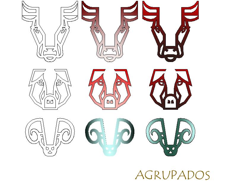 Designed symbols of animals detail dwg file