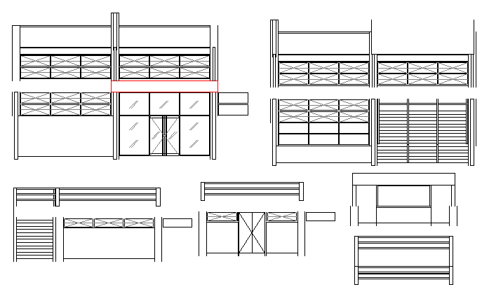 Designing window blocks details of house dwg file