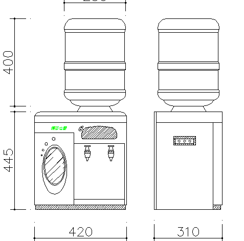 Desktop drinking fountains cad elevation details dwg file
