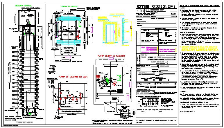 Detail drawing of elevator-otis design drawing