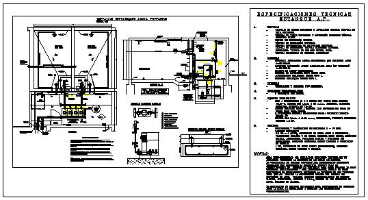 Detail drawing of potable water pond design drawing