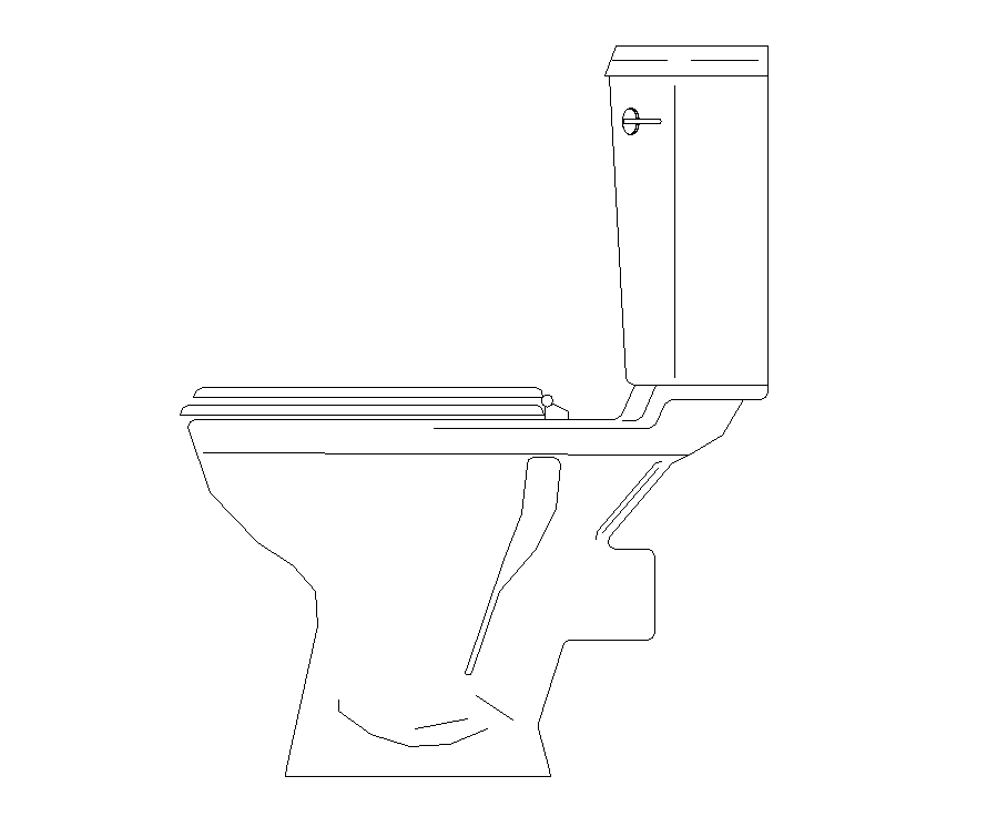 Detail elevation 2d view of Sanitary toilet autocad file