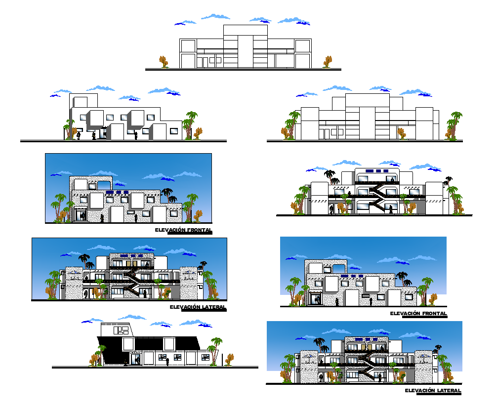 Detail hostel building elevation autocad file