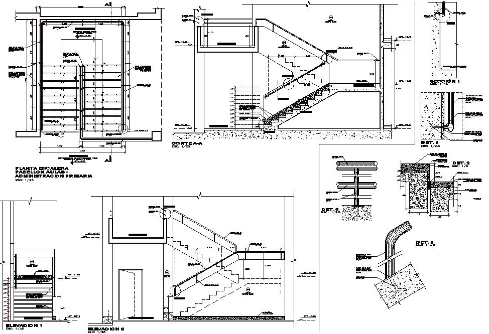 Detail in stair dwg file
