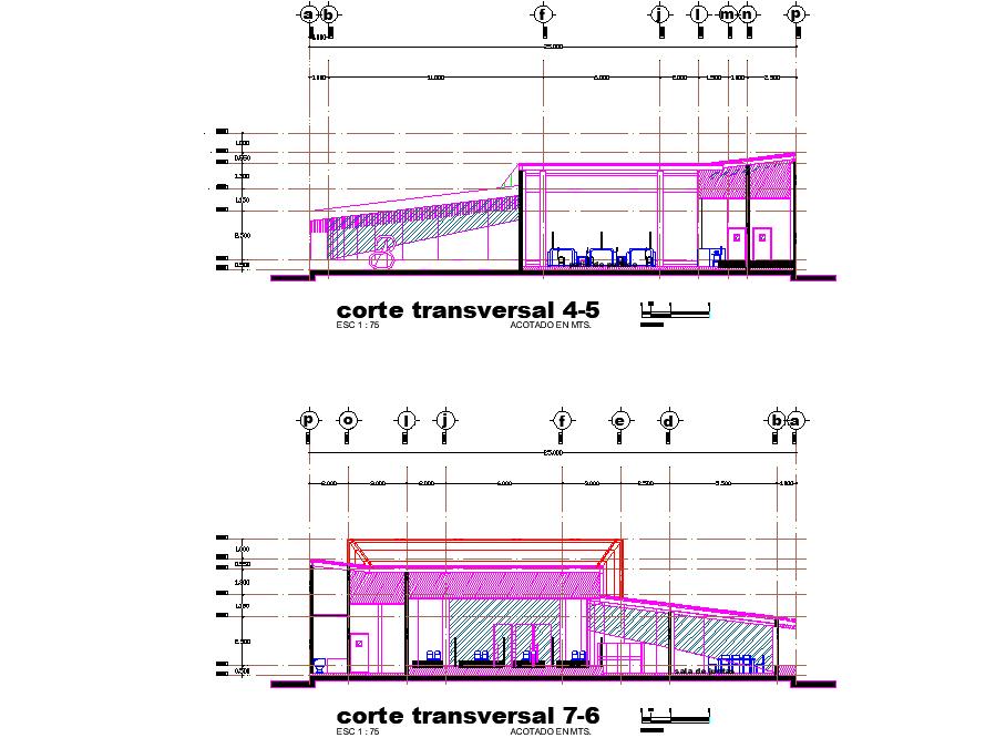Detail of bank plan dwg file