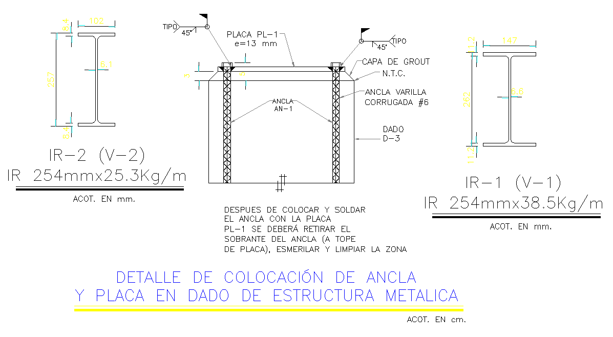 Detail of collocation anchor and given placard in metallic structure layout file