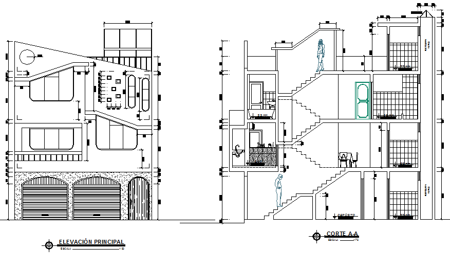 Detail of house elevation and section autocad file