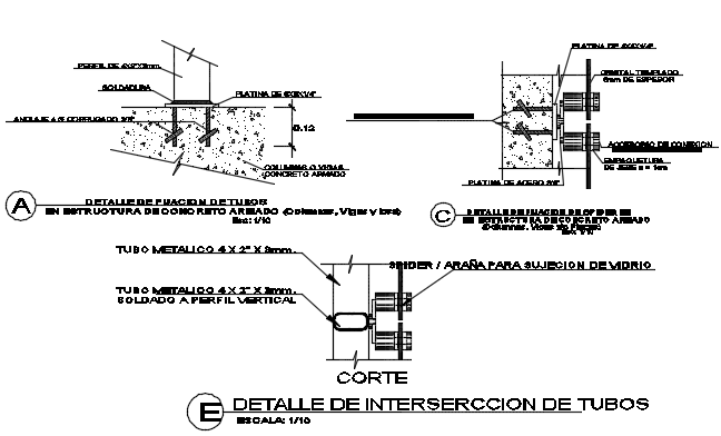Detail of interserccion of tube dwg file