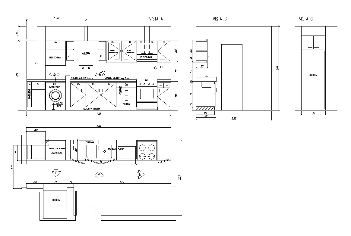 Detail Of Kitchen Furniture 2d View Layout Dwg File
