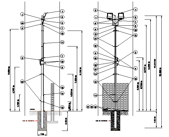 Detail Of Outdoor Lighting Pole With