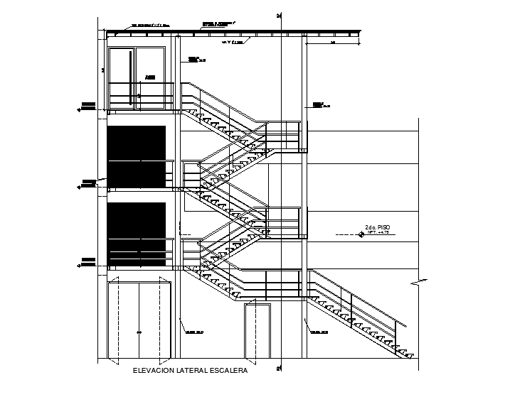 Detail of stair in cad files