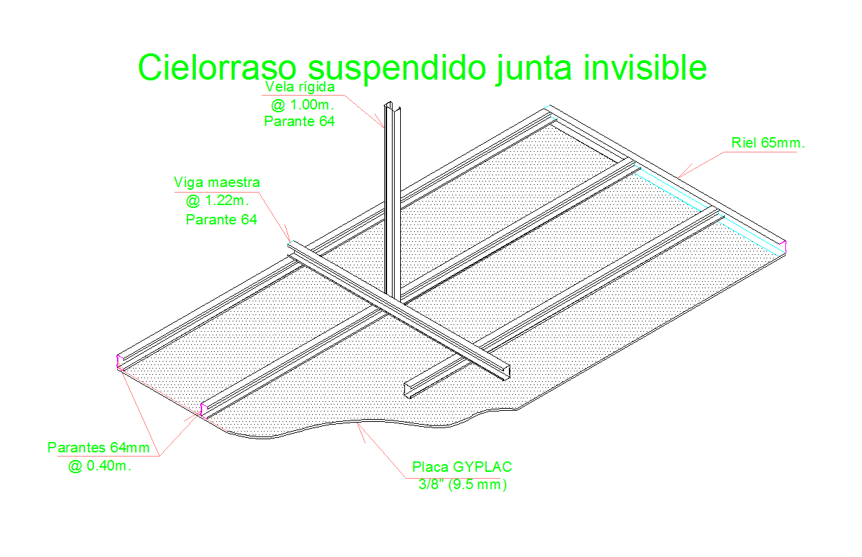 Detail of suspended ceiling in autocad drawing