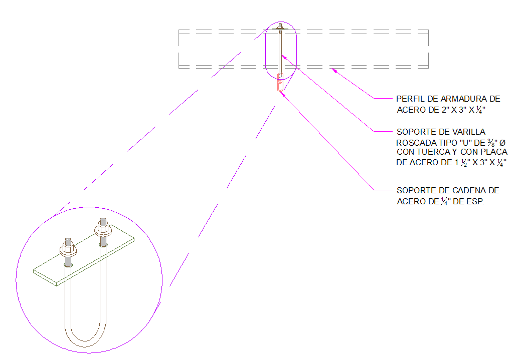 Detail rod bracket type u for Light
