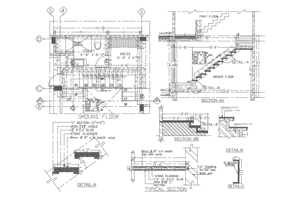 Detail staircase Dwg file