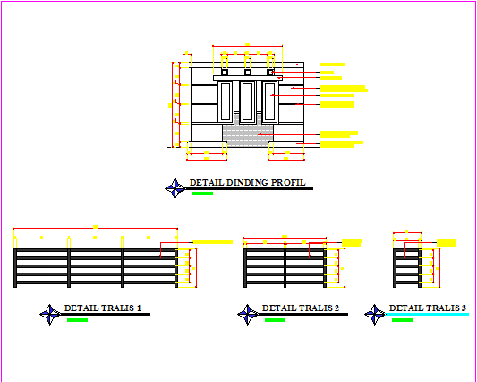Detail wall profile design drawing of single family house