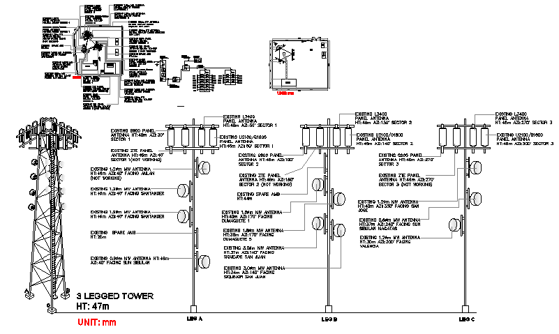 Detailed project of electric installation with three legged dwg file