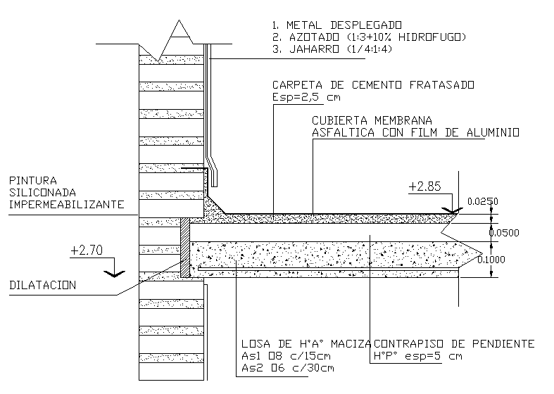 Details of a slab connecting with a roof