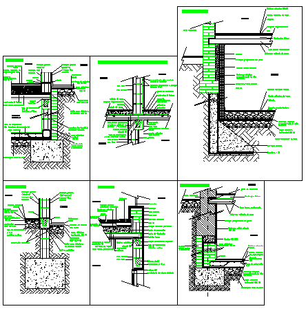 Details of constructive sections concrete blocks design drawing