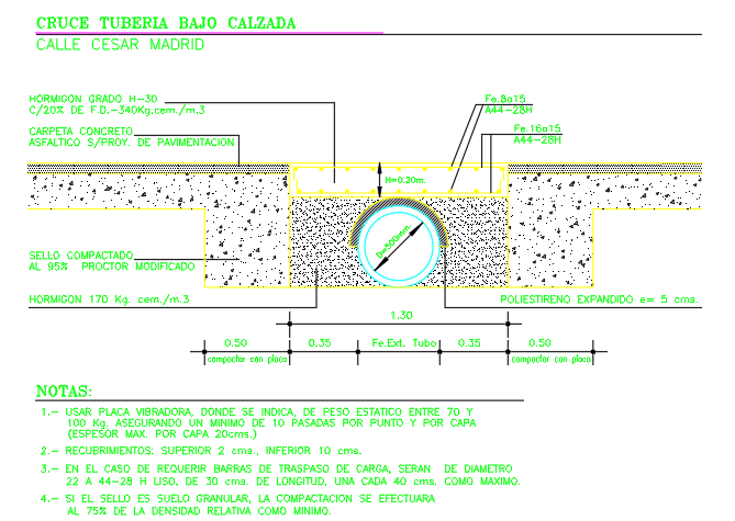 Details of pipe under road way