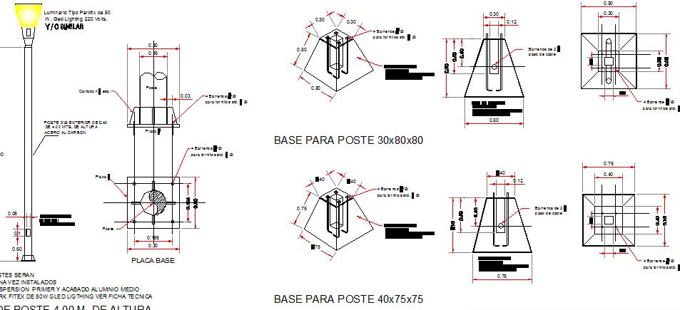 Details of steel lightning pole installation dwg file