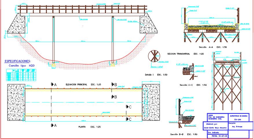 Details of wooden bridge