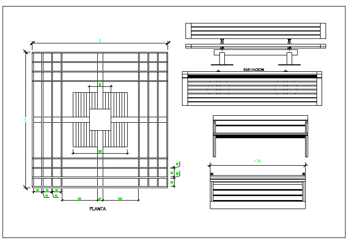 Details of wooden seating benches of garden dwg file
