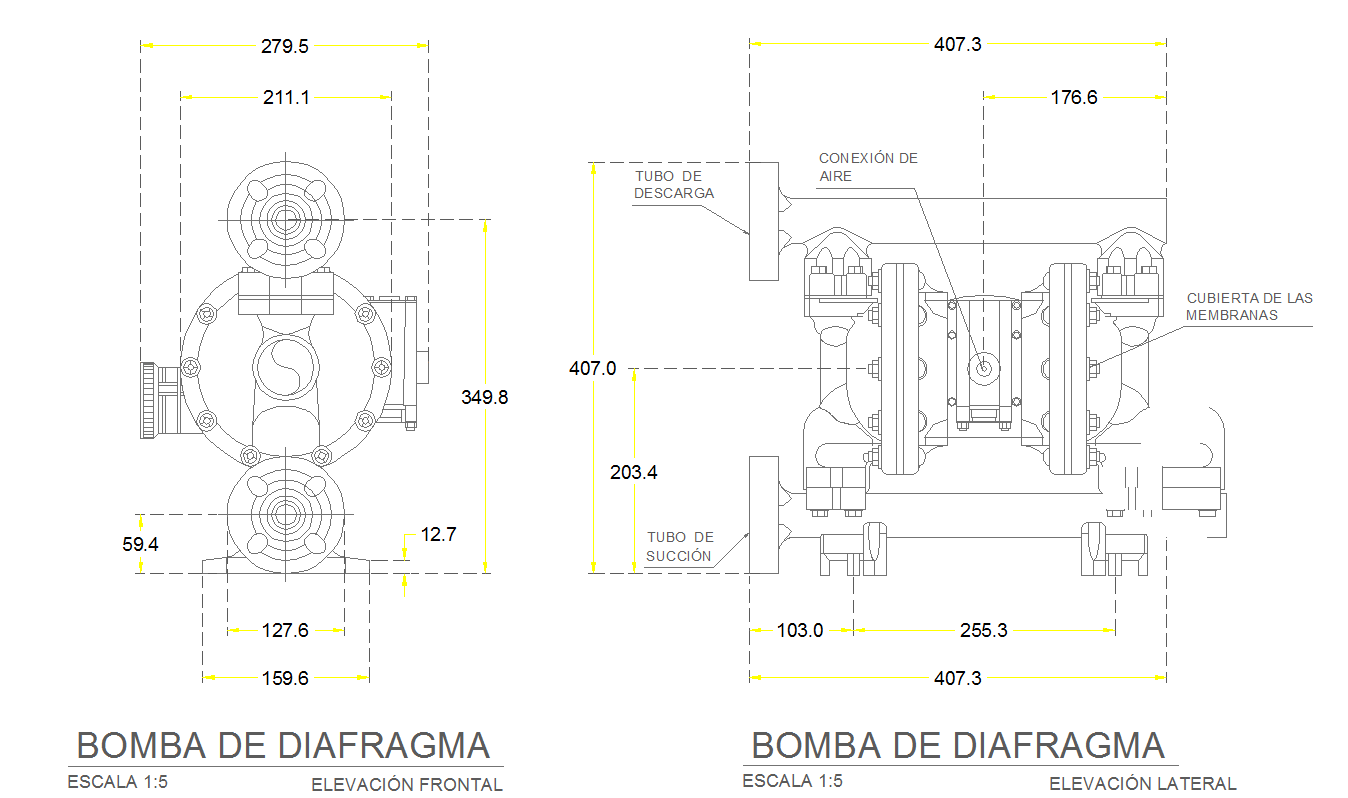 Diaphragm pump cad drawing in 2d