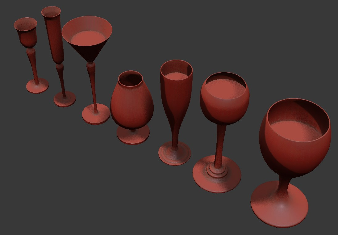 Different Types Of Glasses In Different shapes 3D  Max Free File