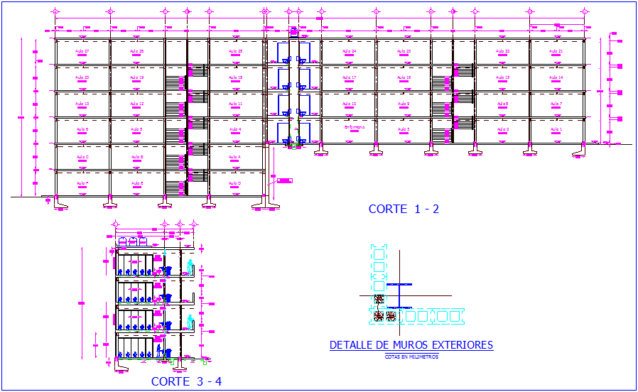 Different axes section view of school dwg file