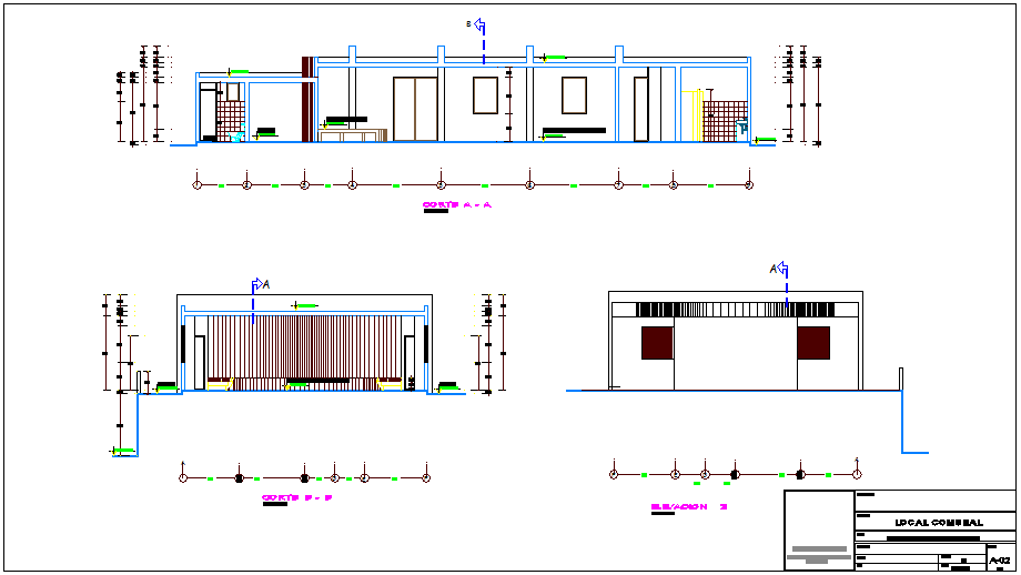 Different axis section view and elevation of social room building dwg file
