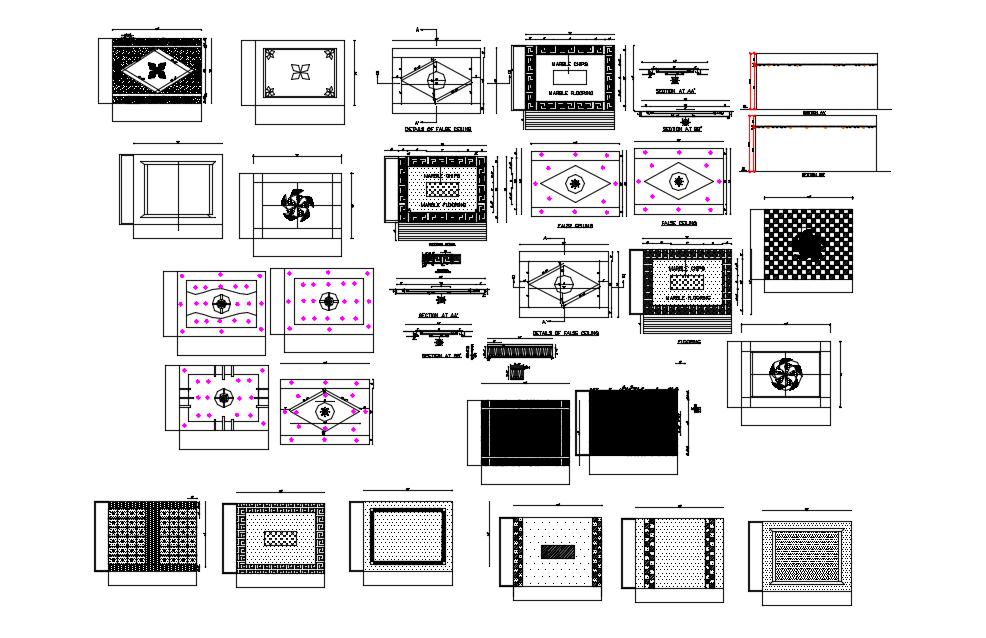 Different false ceiling design view dwg file
