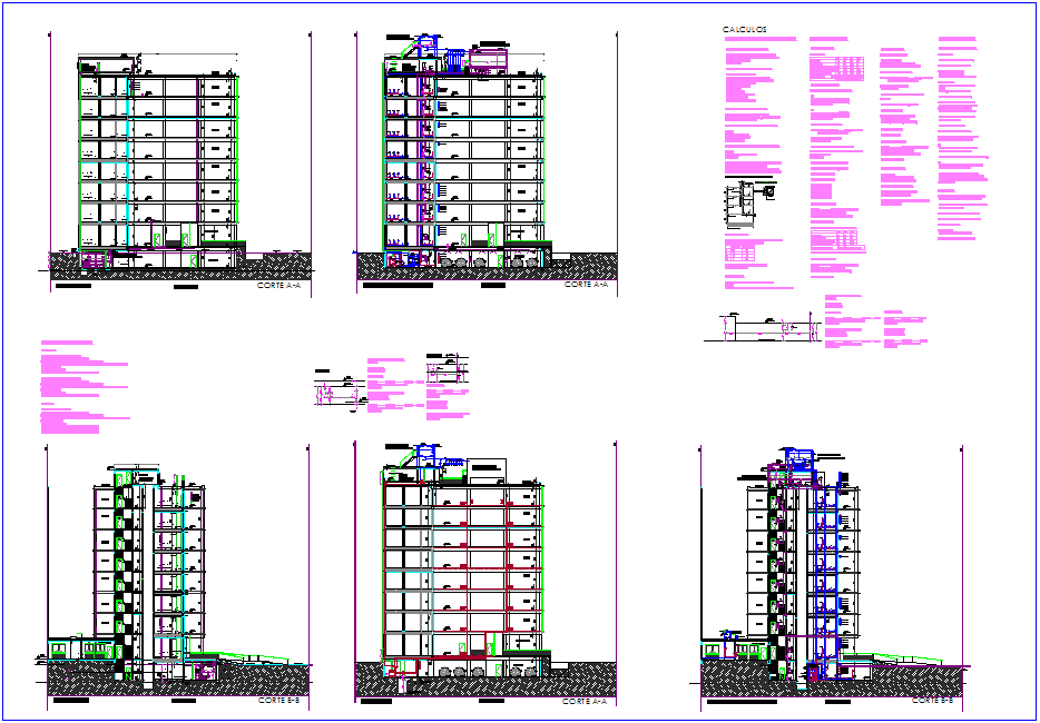 Different section view of office with calculus dwg file