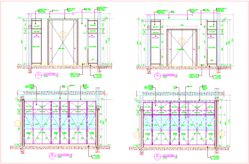 Different side elevation of wardrobe furniture view dwg file