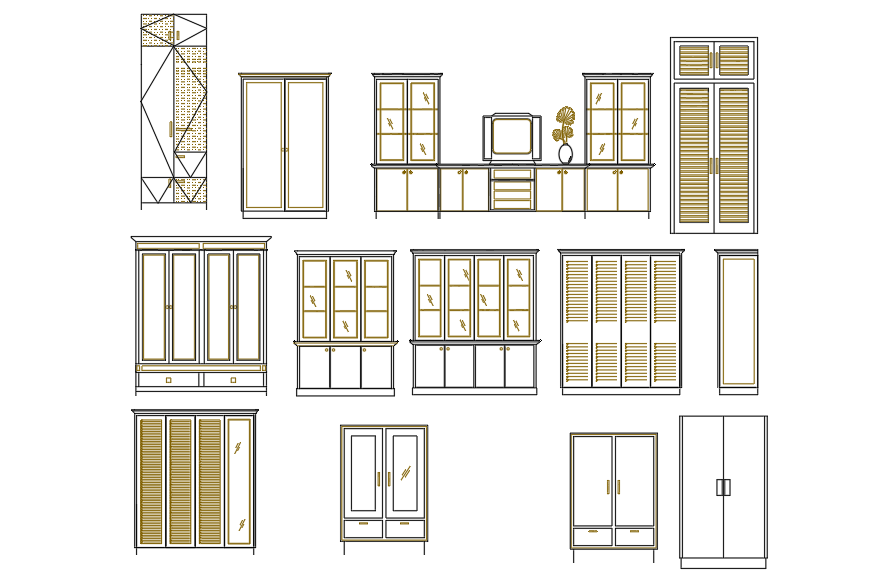 Different sizes of cupboard plan detail dwg