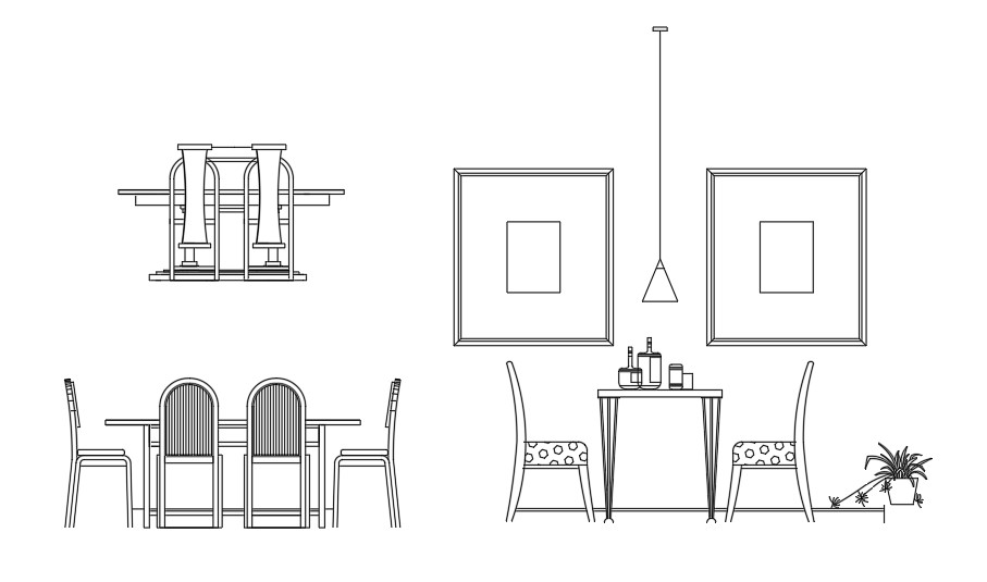 Different variety of 2d Dining table design Autocad ...