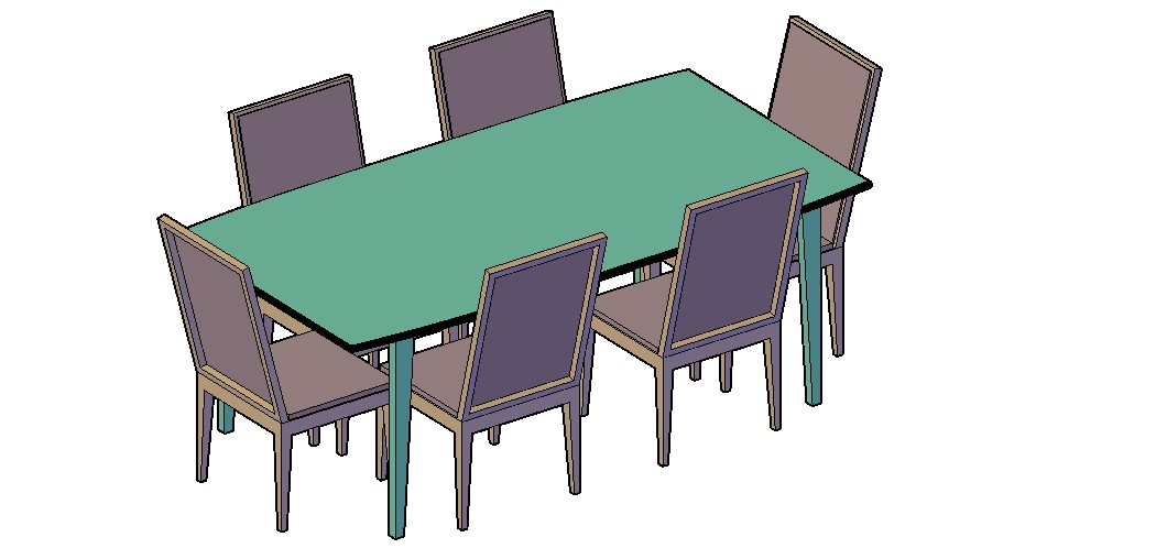 Dining Table Set 3D Model In DWG File