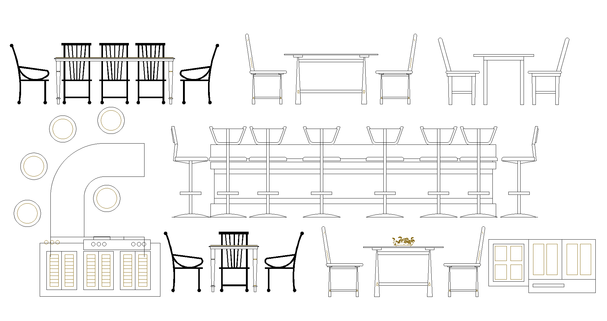 Dining plan and elevation detail dwg.