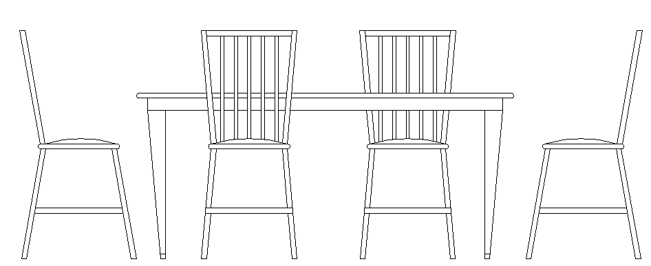 Dining table front view details dwg file